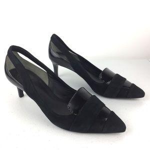 Tory Burch Saray Black Leather Kitten Heels 5